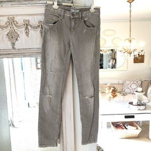 Free People Tan Distressed Skinny Jeans size 25